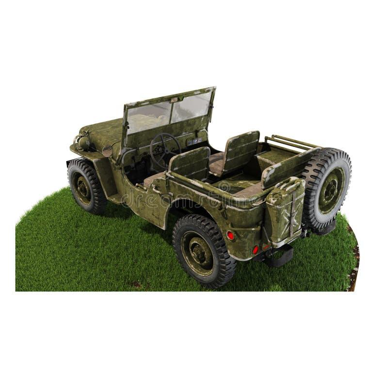 Trozo de tierra de la parte posterior de Jeep Willys fotografía de archivo