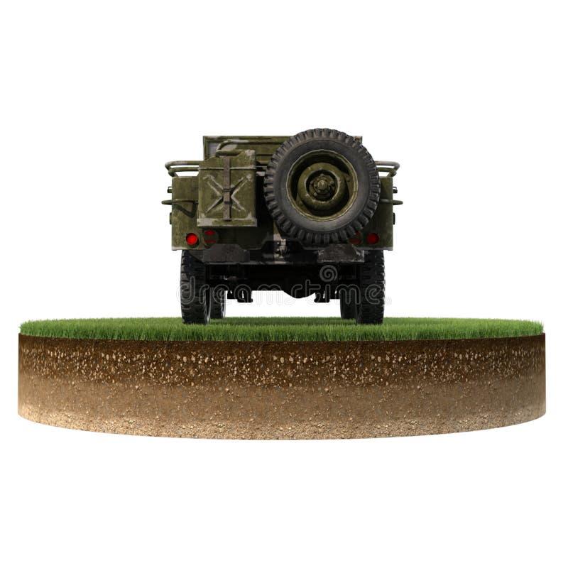 Trozo de tierra de la parte posterior de Jeep Willys fotografía de archivo libre de regalías