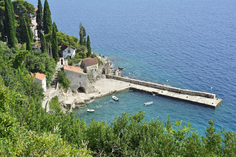 Trsteno Harbour. The historic tiny harbour of Trsteno in Dubrovnik–Neretva County on the Croatian coast stock photo