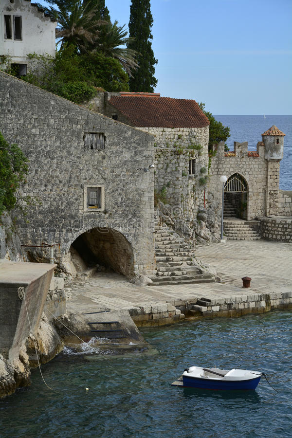 Trsteno Harbour. The historic tiny harbour of Trsteno in Dubrovnik–Neretva County on the Croatian coast royalty free stock photos