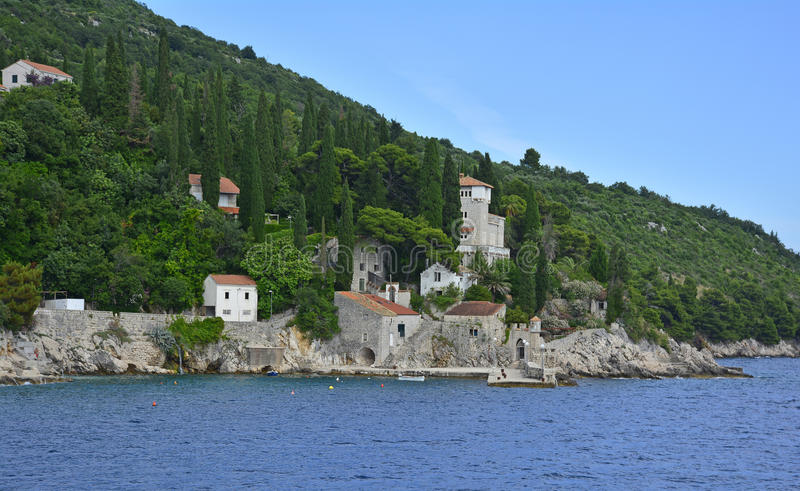 Trsteno Harbour. The historic tiny harbour of Trsteno in Dubrovnik–Neretva County on the Croatian coast royalty free stock images