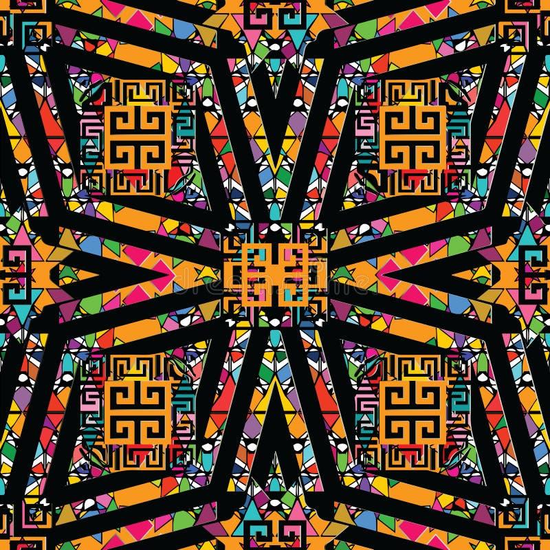 Trtibal希腊传染媒介无缝的样式 种族装饰geometr 向量例证