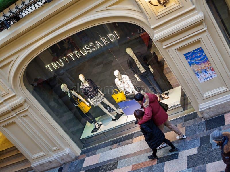 TRU TRUSSARDI butik - GUMOWY Wydziałowy sklep, Moskwa, Rosja zdjęcia royalty free
