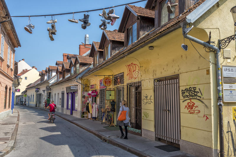 Trubarjeva Cesta, Ljubljana stock afbeeldingen