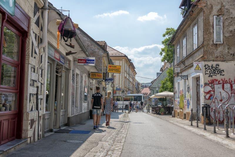 Trubarjeva Cesta, Ljubljana stock afbeelding