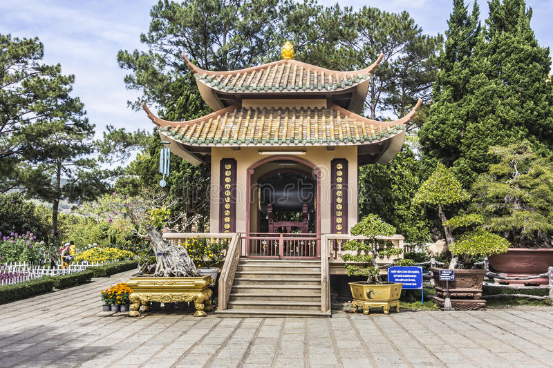 Truc Lam Pagoda. A buddhist Zen monastery near the city of Dalat, Vietnam. The picture shows a small building at the entrance stock photo