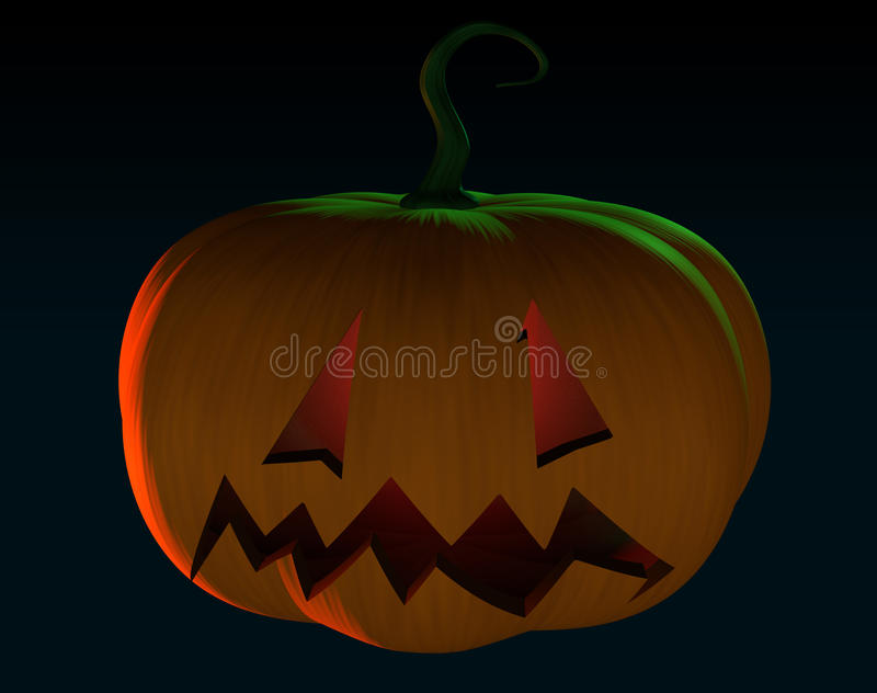 Truc van de het beeldverhaalpompoen van Halloween behandelt de enge of in zwarte backgrou stock illustratie