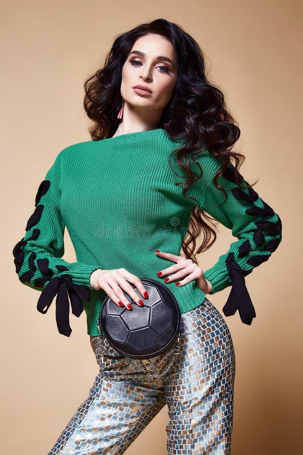 Trucco castana dei capelli del bello della donna di modo modello sexy di fascino immagini stock libere da diritti