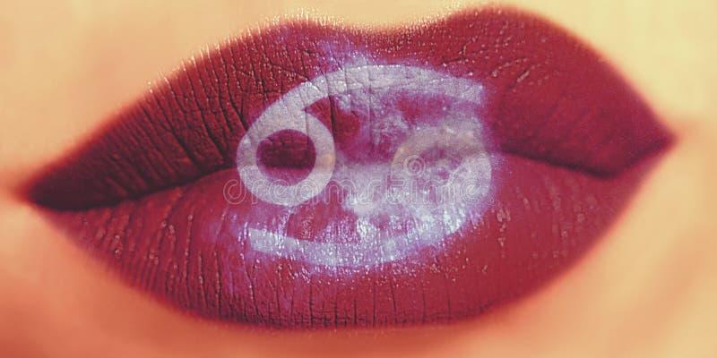 Trucco creativo d'avanguardia del labbro Labbra lucide brillanti del primo piano con Cance fotografia stock