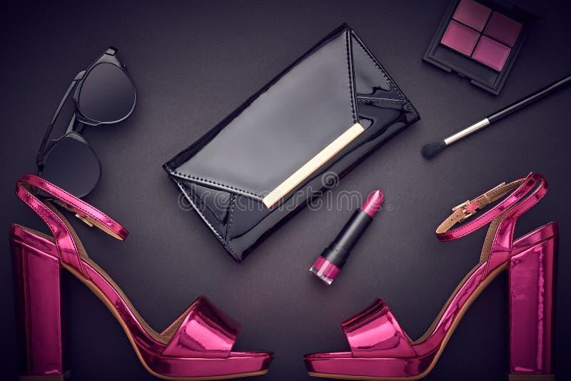 Trucco del cosmetico di modo Accessori della donna di progettazione fotografie stock libere da diritti