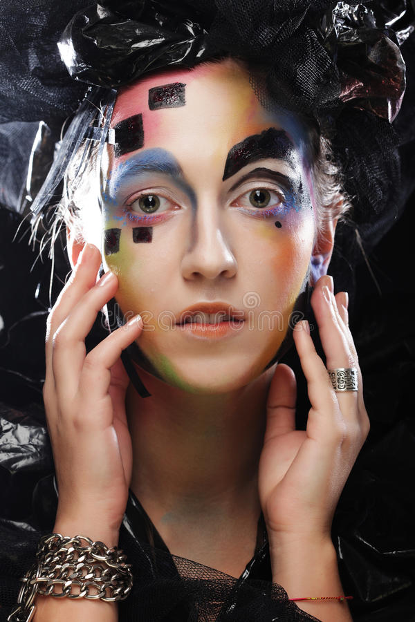 Trucco della donna di stile di bellezza di Halloween immagine stock