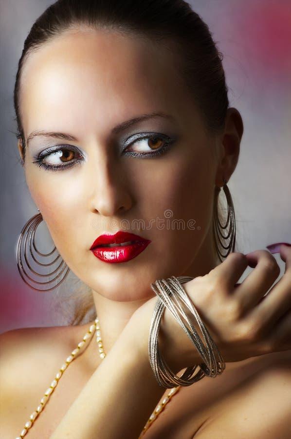 Trucco di bellezza di modo. ragazza sexy immagini stock