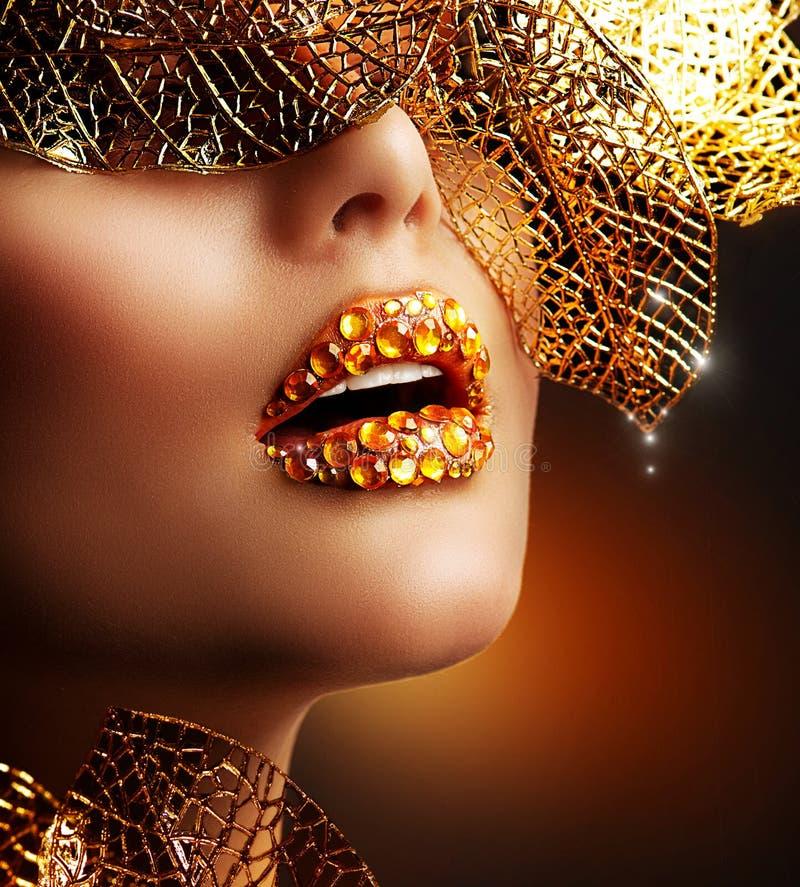 Trucco dorato di lusso immagini stock