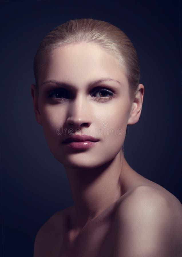 Trucco naturale del ritratto di bellezza e luce classica fotografie stock libere da diritti