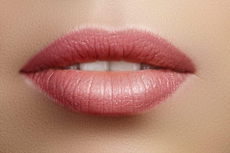 Trucco naturale perfetto del labbro del primo piano Belle labbra piene grassottelle sul fronte femminile Pulisca la pelle, trucco immagine stock