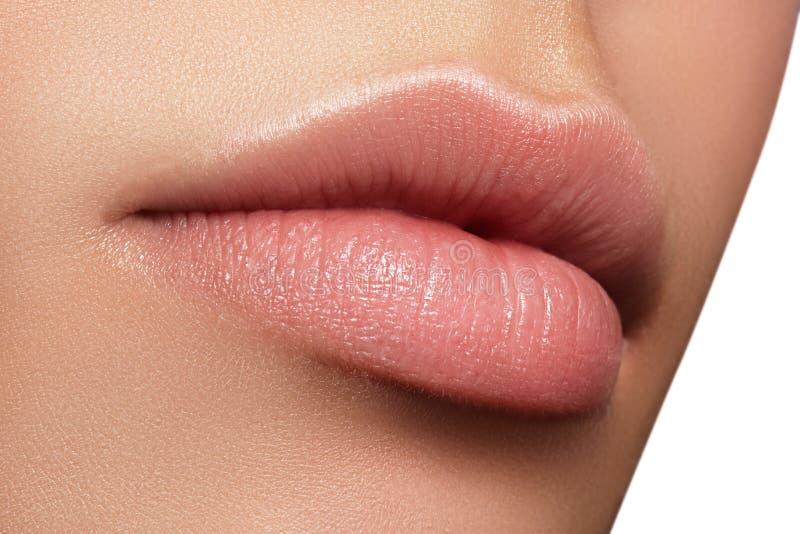 Trucco naturale perfetto del labbro del primo piano Belle labbra piene grassottelle sul fronte femminile Pulisca la pelle, trucco immagine stock libera da diritti