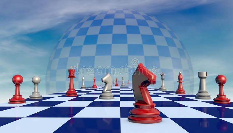 Truce. Chess pieces on a chessboard long (fantastic background vector illustration