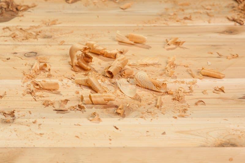 Trucioli di legno sulle plance fotografia stock