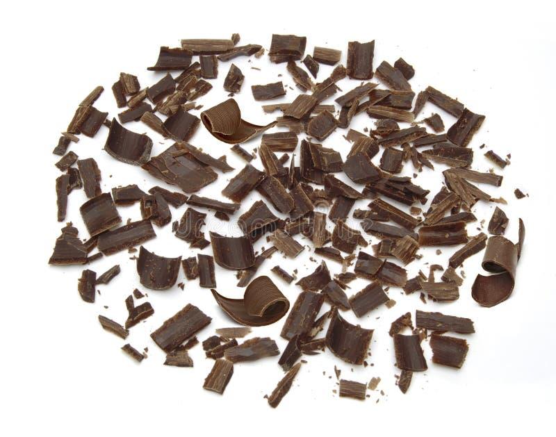 Trucioli e riccioli del cioccolato fondente fotografia stock