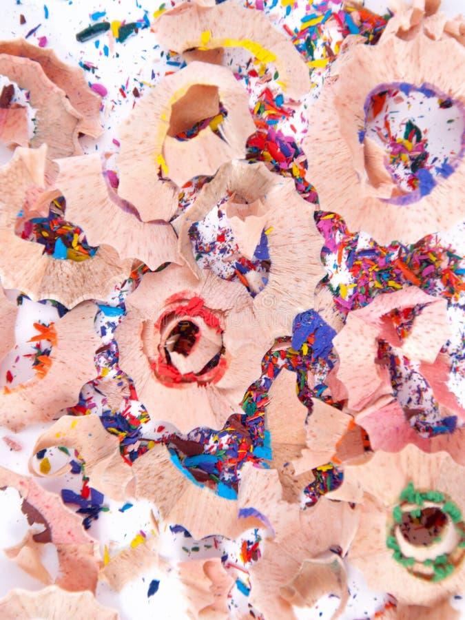 Trucioli Multi-coloured del pastello della matita fotografia stock libera da diritti