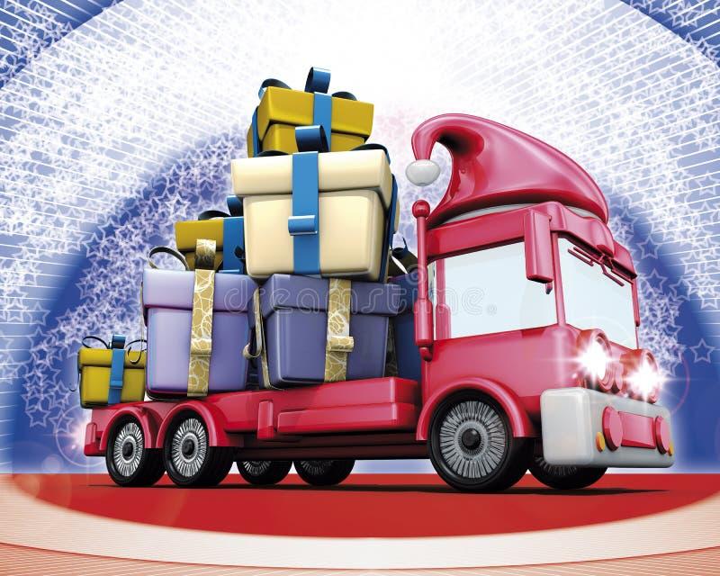 truck δώρων Χριστουγέννων διανυσματική απεικόνιση