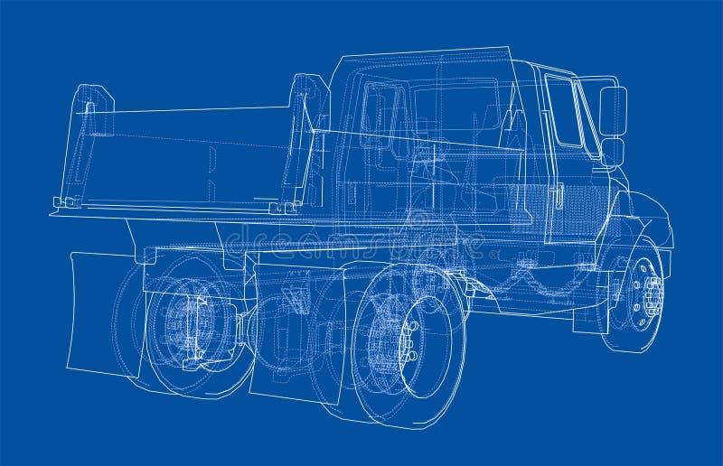 truck θάλασσας εκσκαφέων απορρίψεων διάνυσμα διανυσματική απεικόνιση