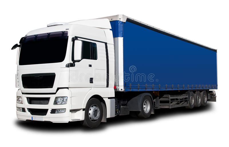 Truck. White Blue Semi Truck with Isolated Background