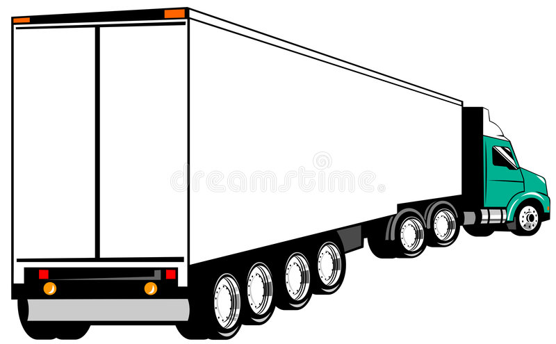 Truck. Vector art of an articulated truck isolated on white stock illustration