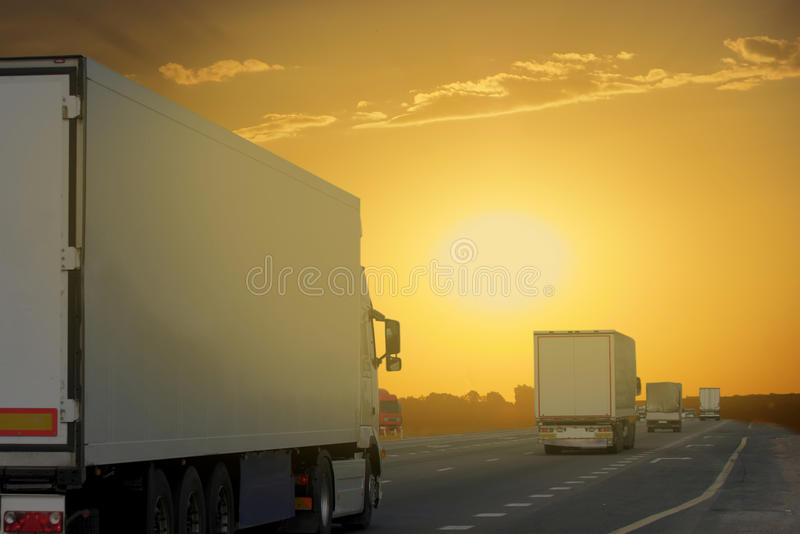The truck on asphalt road royalty free stock photography