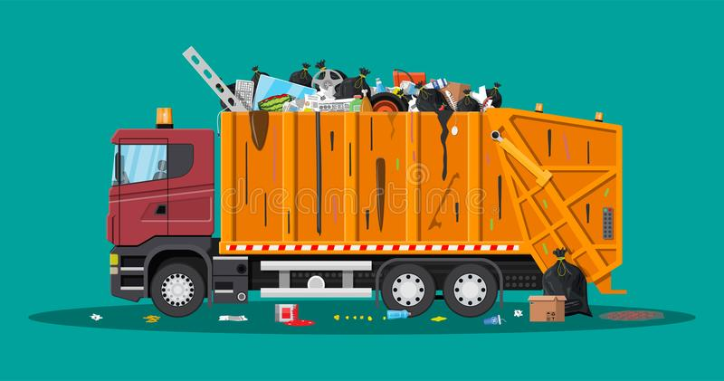 Truck for assembling and transportation garbage. Truck assembling transportation garbage. Overflowing garbage food rotten fruit papers containers glass. Car stock illustration