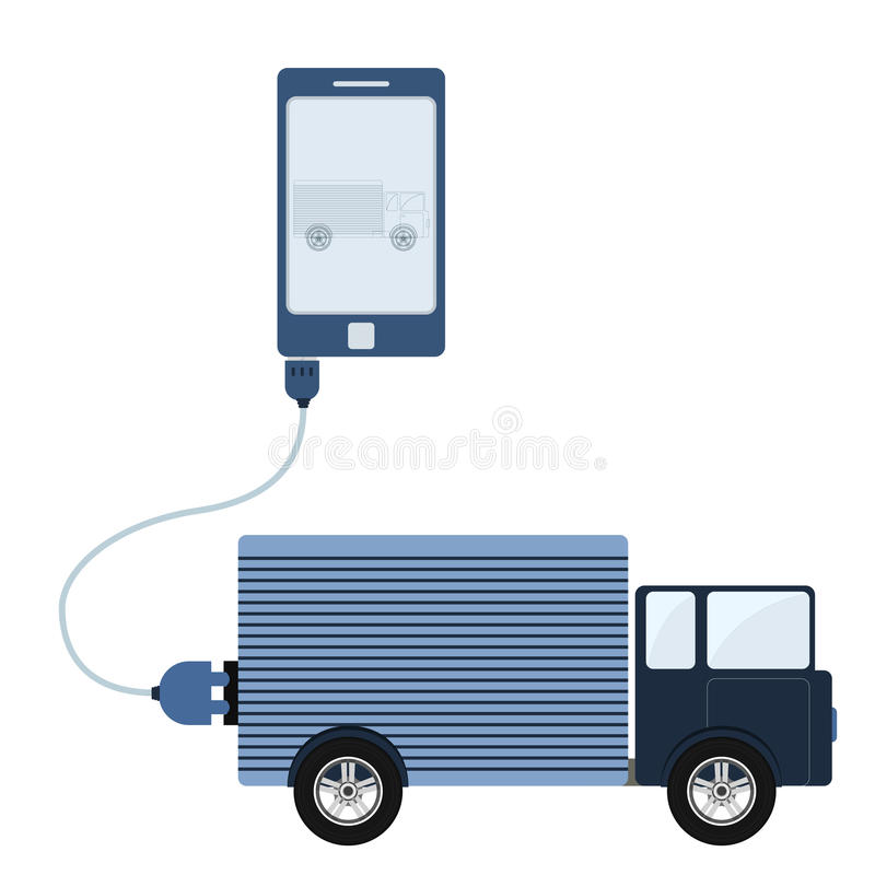 Truck automation using cell phone. Truck connected to a cell phone through a usb cable. Outline of the truck being shown on the mobile monitor. Flat design stock illustration