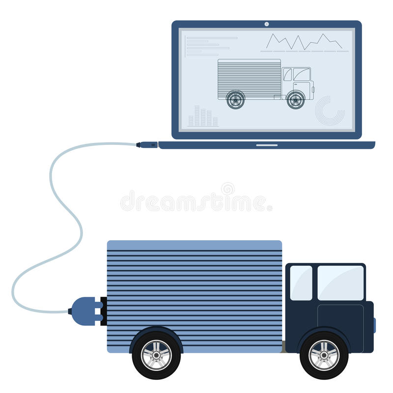 Truck automation using laptop. Truck connected to a laptop through a usb cable. Outline of the truck and graphs being shown on the computer monitor. Flat design vector illustration