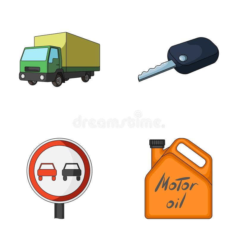 Truck with awning, ignition key, prohibitory sign, engine oil in canister, Vehicle set collection icons in cartoon style royalty free illustration