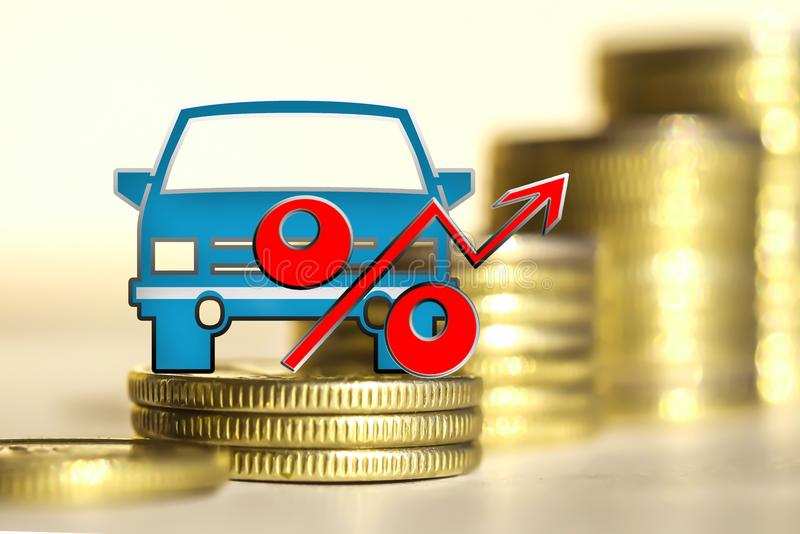 Truck on a background of money the Concept of changes in car prices stock photo