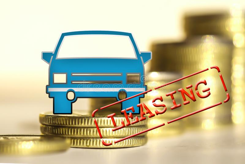 Truck on a background of money the Concept of changes in car prices stock photography