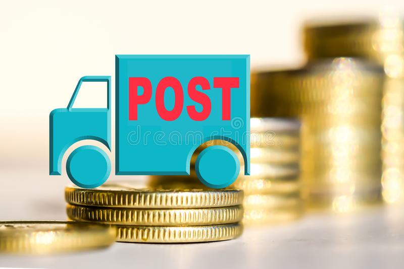 Truck on a background of money the Concept of changes in car prices royalty free stock photos