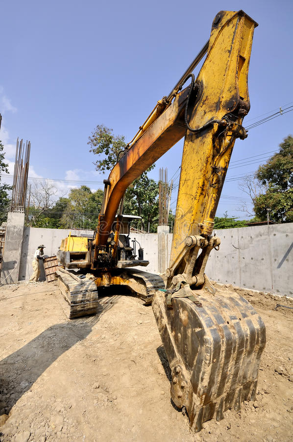Truck backhoe Soil excavation and soil movement. royalty free stock image