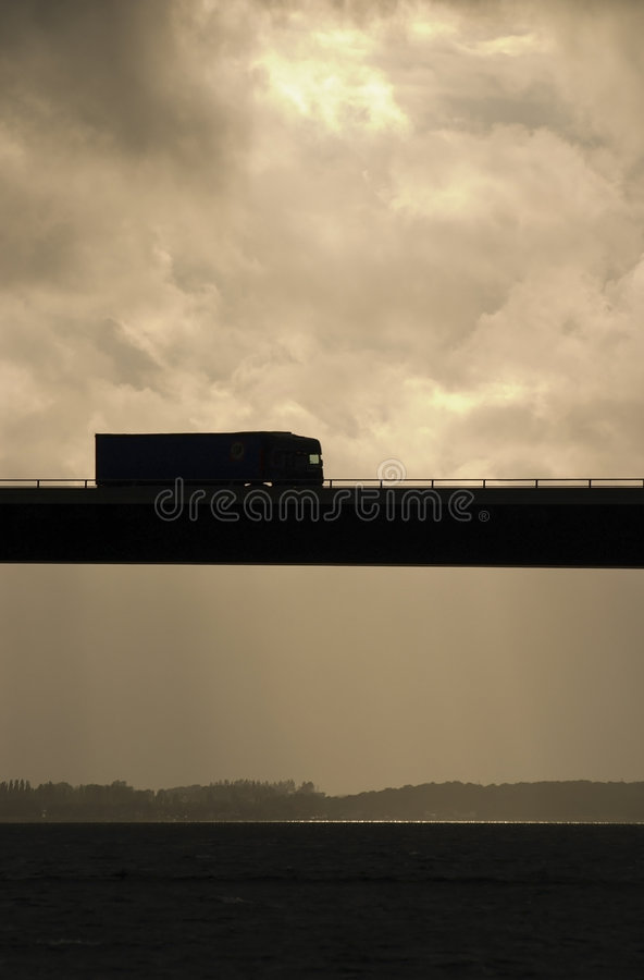 Truck on bridge stock image