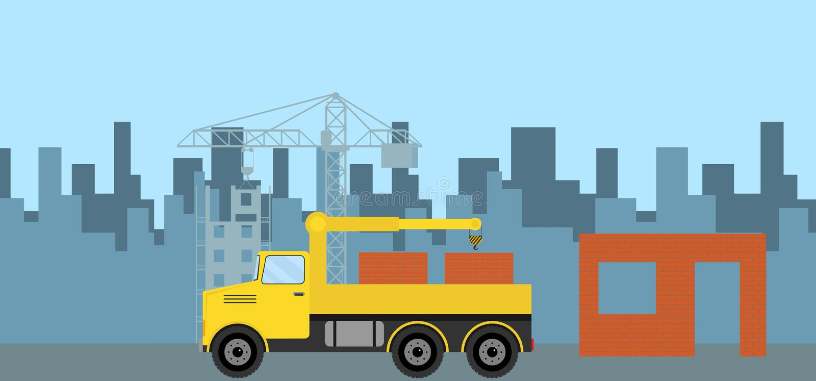 The truck brought a brick to the construction site. Truck with a brick. Flat design, illustration royalty free illustration
