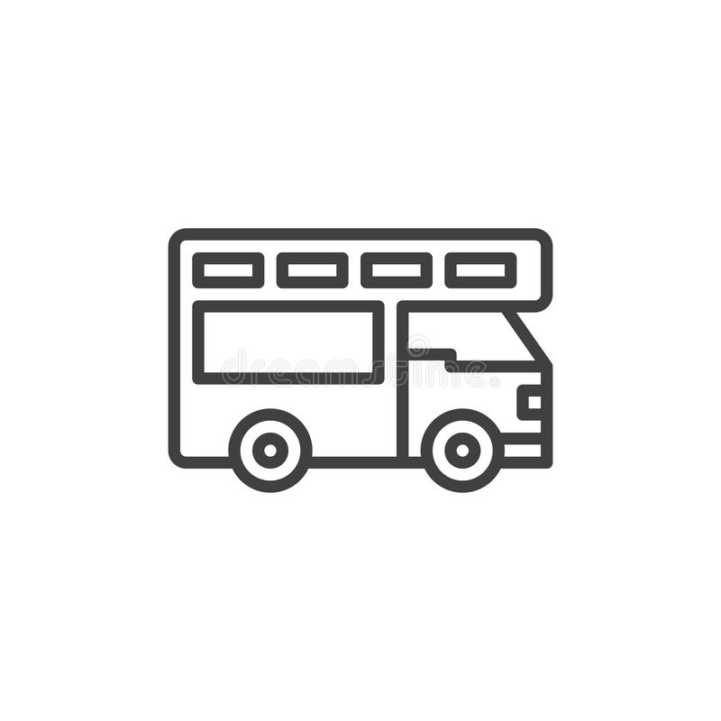 Truck camper line icon, outline vector sign, linear style pictogram isolated on white. stock illustration
