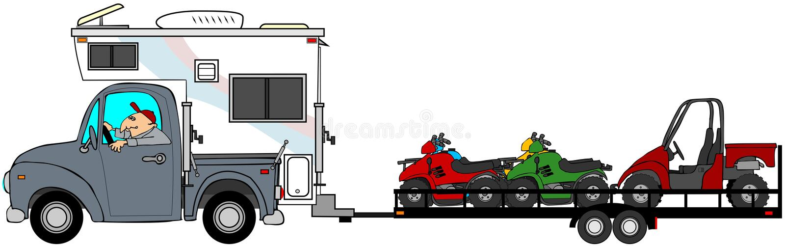 Truck with camper towing ATV's vector illustration