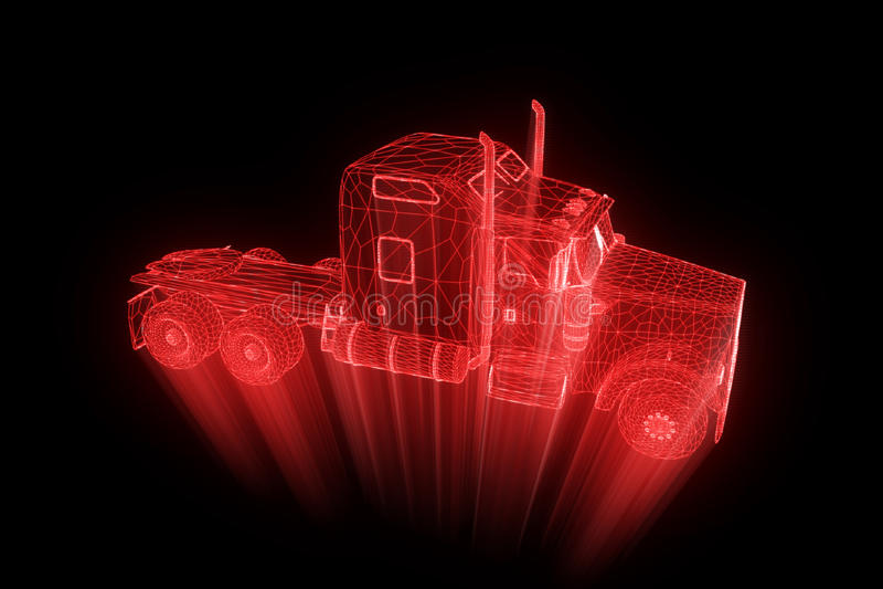 Truck Car in Hologram Wireframe Style. Nice 3D Rendering. vector illustration