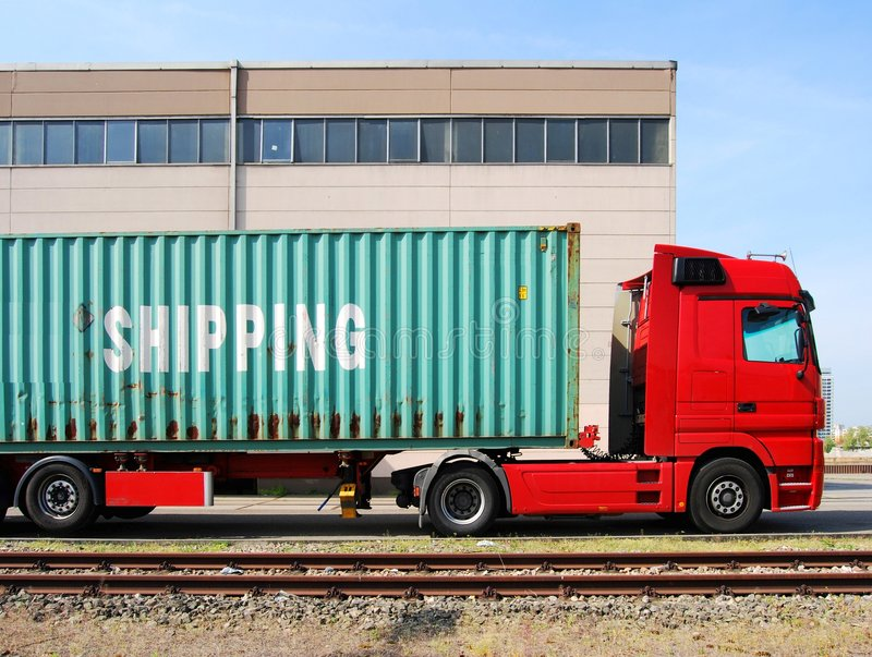 Truck with cargo container royalty free stock photos