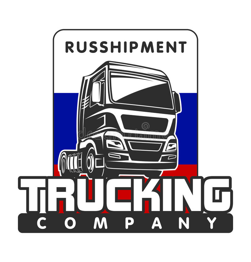 Truck cargo russian freight logo template royalty free illustration
