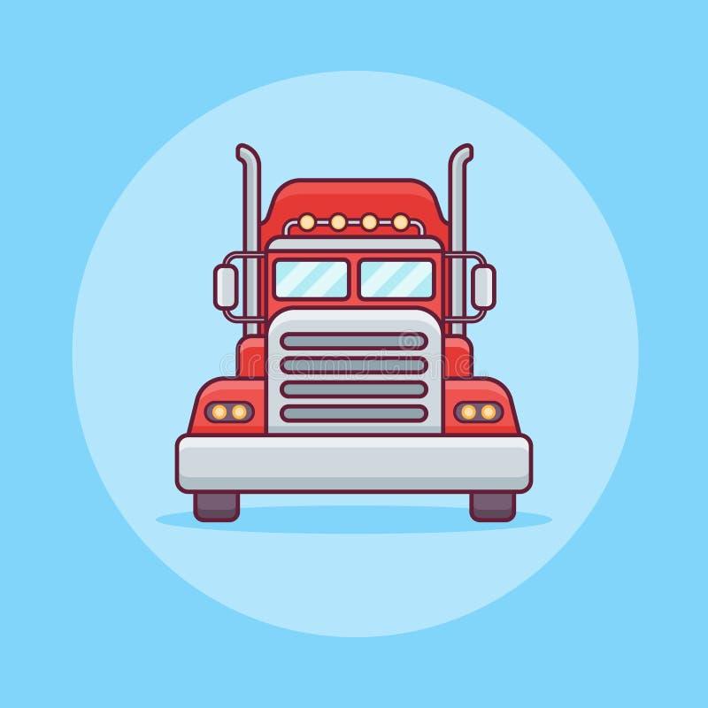 Red American Truck Trailer Freight Cargo Flat Design ...