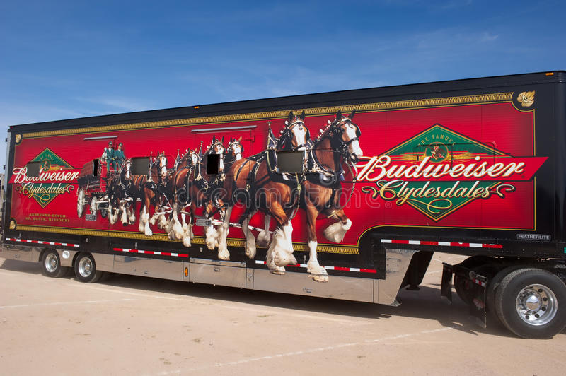 Truck Carrying Budweiser Clydesdales Editorial Stock Image