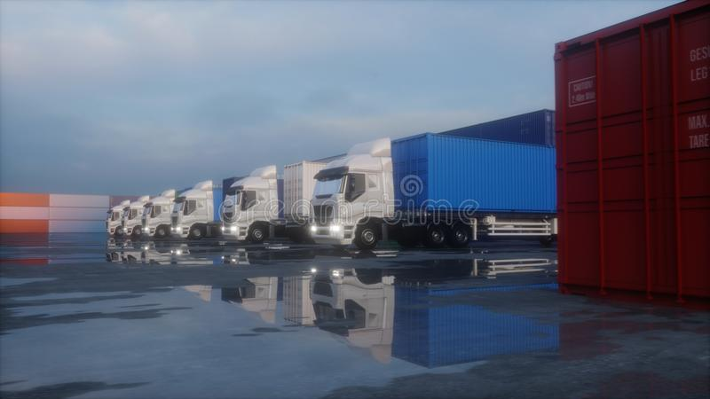 Truck in container depot, wharehouse, seaport. Cargo containers. Logistic and business concept. 3d rendering. Truck in container depot, wharehouse, seaport vector illustration