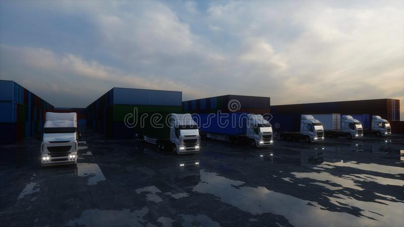 Truck in container depot, wharehouse, seaport. Cargo containers. Logistic and business concept. 3d rendering. vector illustration