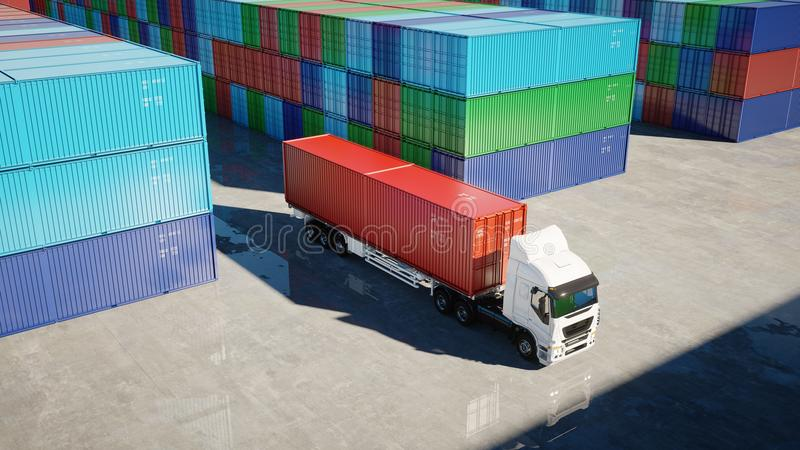Truck in container depot, wharehouse, seaport. Cargo containers. Logistic and business concept. 3d rendering. royalty free illustration