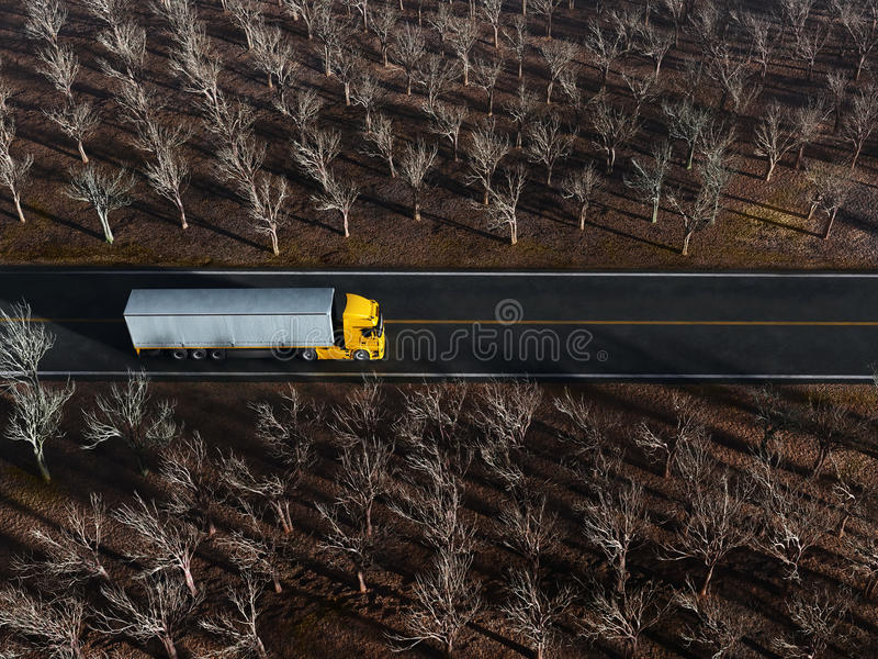 Download Truck on country road stock photo. Image of truck, trailer - 28044348